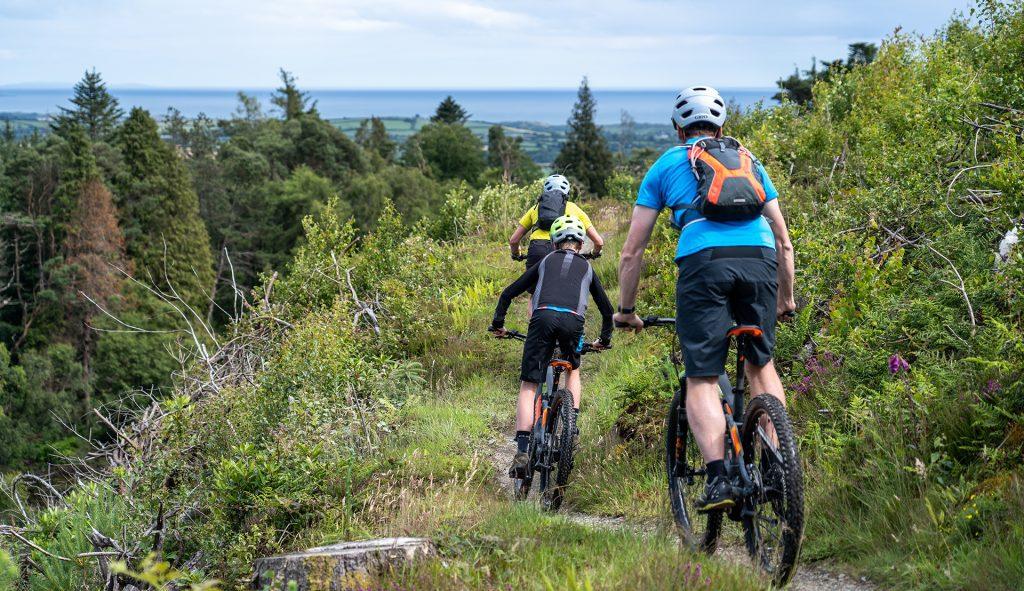 Three mountain bikers on the red trail at Castlewellan Forest Park near the Mourne Mountains